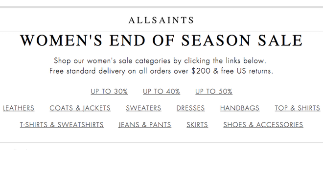 AllSaints - Extra 20% Off Sale with Promo Code